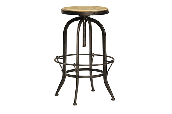 wood and iron stool with no back