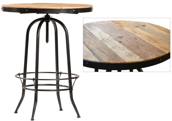 Wood and iron round bar table