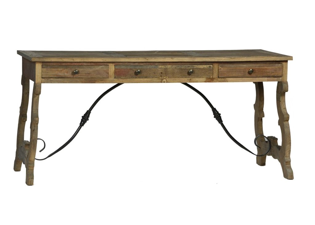 Spanish Style Desk with Iron Base