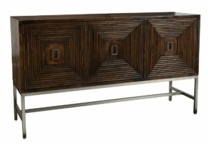 Aldo Squared Patterned Wood and Iron Sideboard