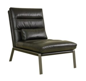 Perry Leather Black Accent Chair