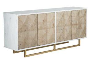 Northwood Whitewash Sideboard with Brass Base