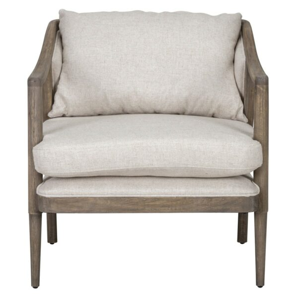 off white upholstered chair with wood frame front view