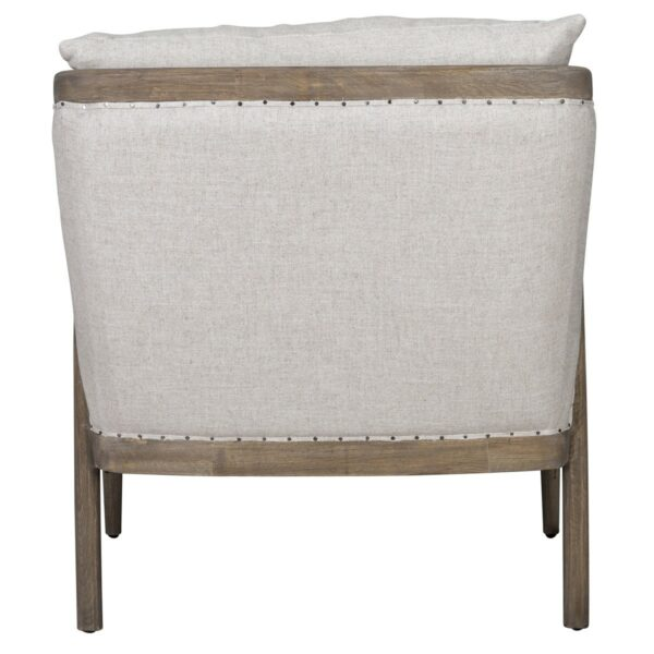 off white upholstered chair with wood frame back view