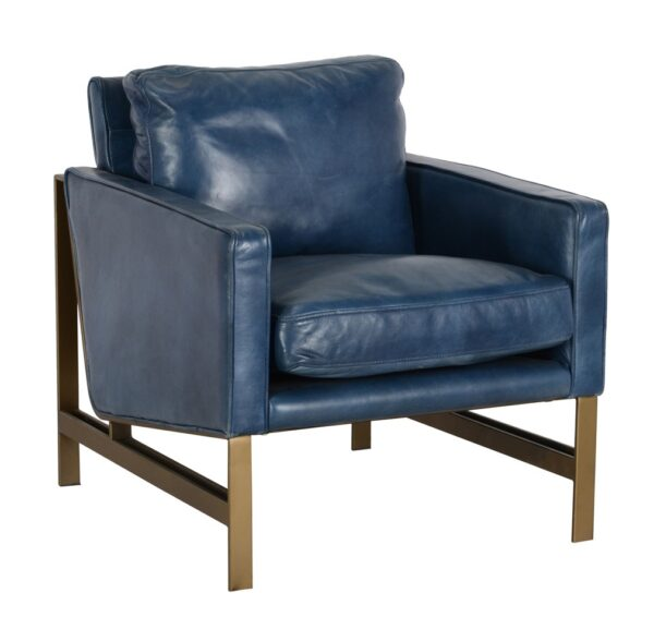 Blue leather club chair with metal legs