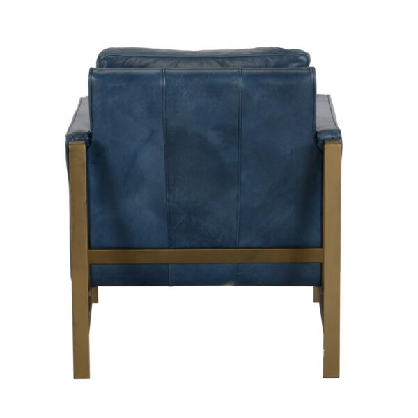 dark blue leather chair with brass frame