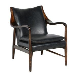 Kiannah Black Leather Club Chair