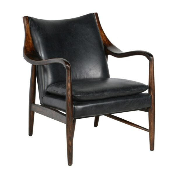 black leather chair with wood frame