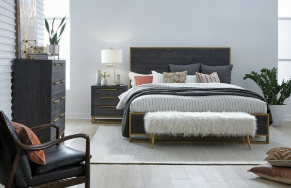 black leather chair with wood frame in bedroom setting