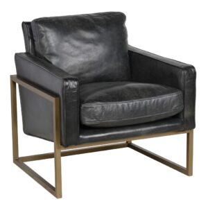Ken Black Leather Club Chair