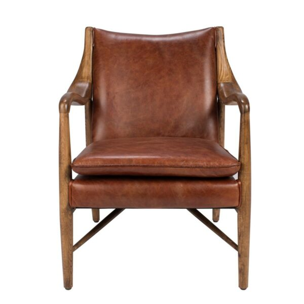 brown leather chair with wood arms front view