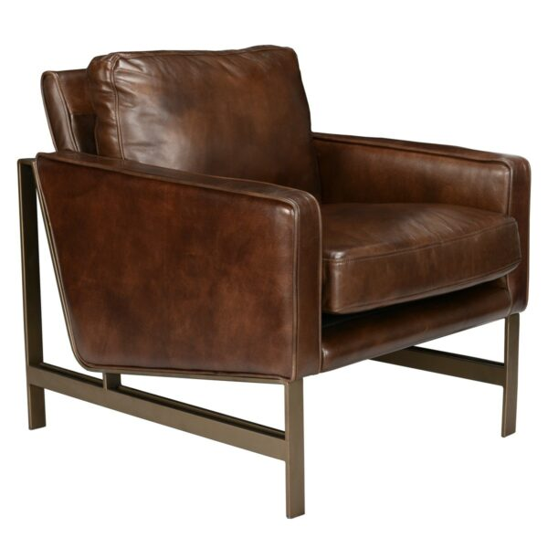 brown leather accent chair with bronze legs