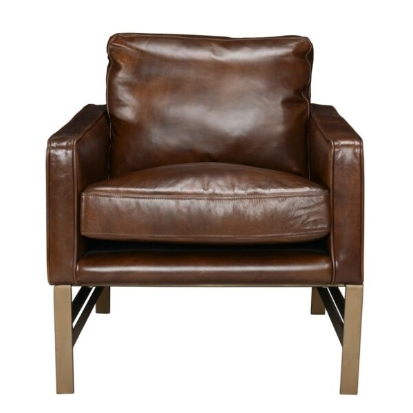 brown leather accent chair with bronze legs front view