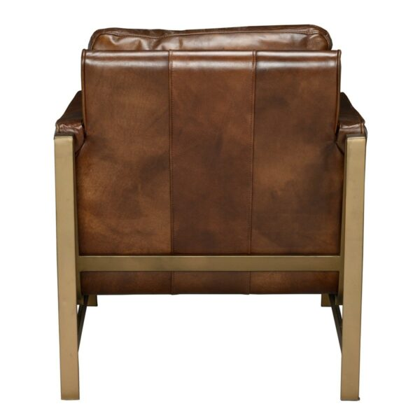 brown leather accent chair with bronze legs back view