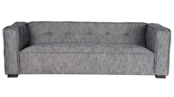 Grey fabric sofa with square arms