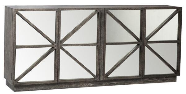 """80"""" grey wash sideboard with mirror doors"""
