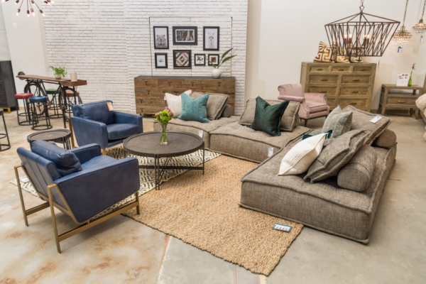 Gray modular chaise chair shown as sectional
