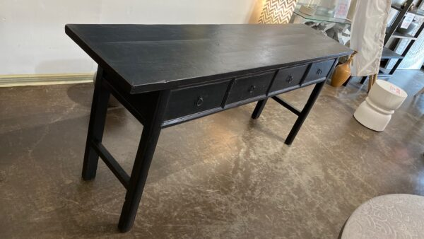 black console table with 4 drawers top view