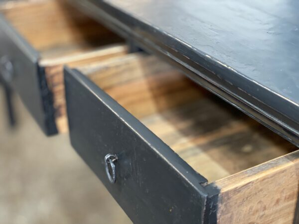 black console table with 4 drawers close up