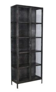Salinas Gunmetal Iron Glass Cabinet