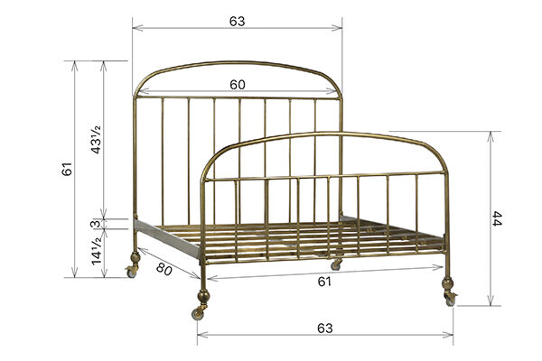 brass iron bed
