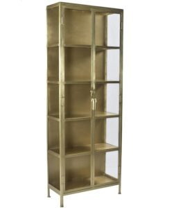 Wilkins Antique Brass Glass Cabinet