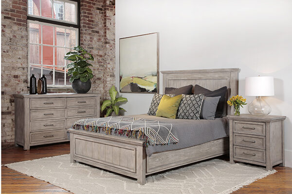 light grey wash wood bed in bedroom setting