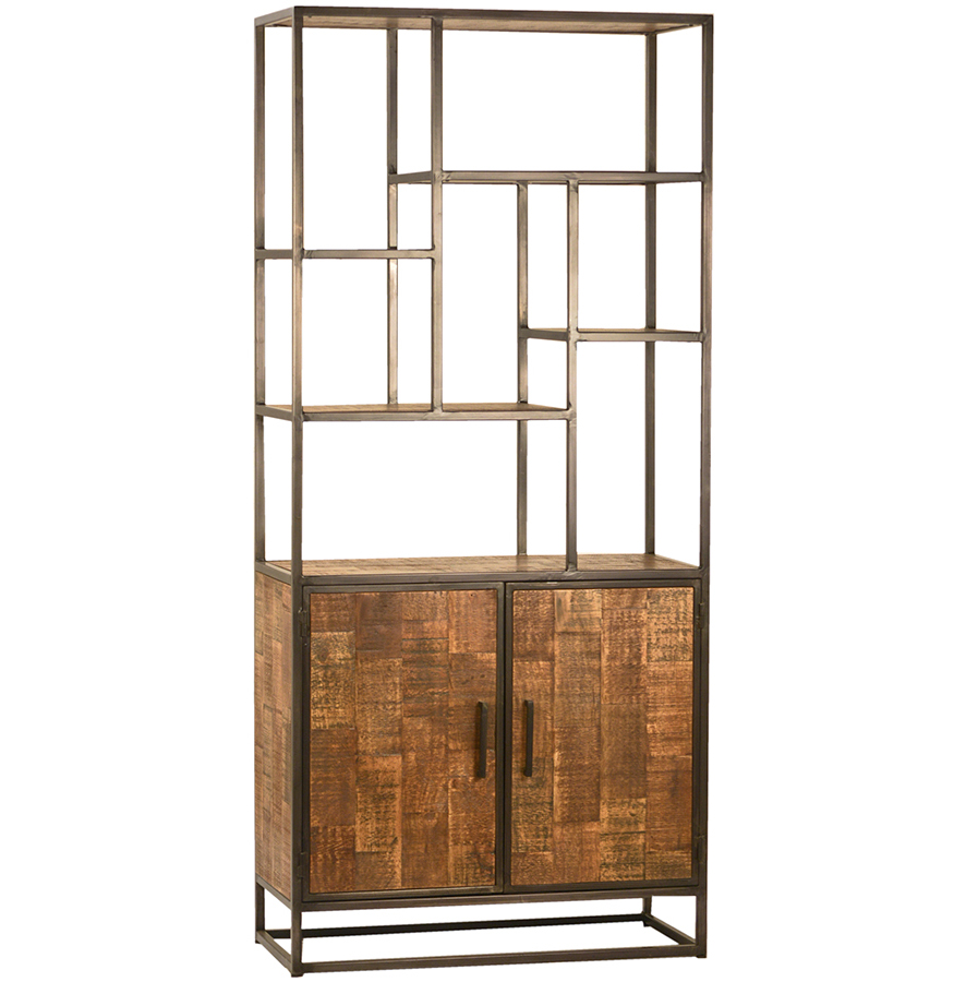 Hooper Reclaimed Wood and Iron Bookcase with Doors
