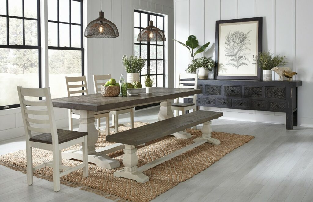 Caleb Two Tone Wood Dining Set (6 pieces)