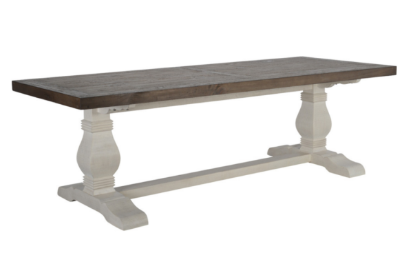 Trestle dining table with dark top and white base