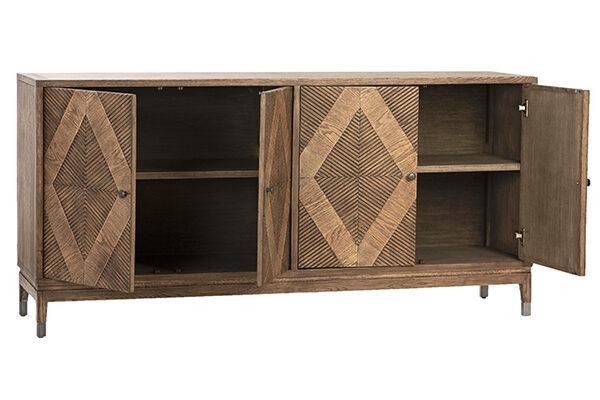Touta Oak Wood Sideboard Cabinet with 4 opened doors