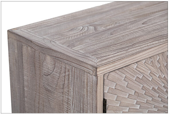 Carved front light finish sideboard cabinet top view