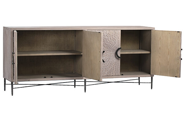 Carved front light finish sideboard cabinet with open doors
