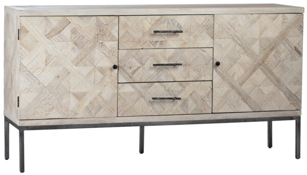 Light color sideboard with 2 compartments and 3 center drawers