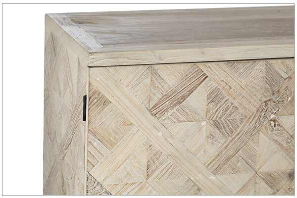 Light color sideboard with 2 compartments and 3 center drawers close up of parquet design on the front