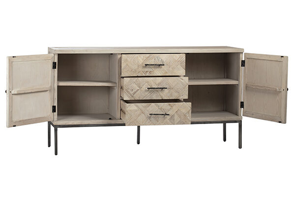 Light color sideboard with 2 compartments and 3 center drawers showed with doors opened