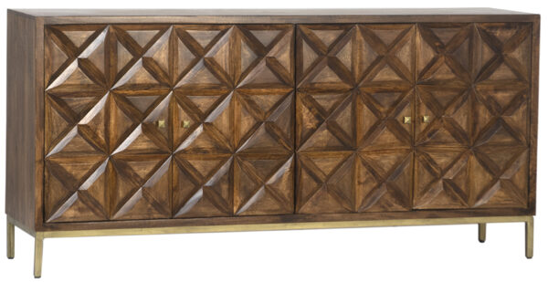 Dark wood sideboard with metal base in brass finish front view