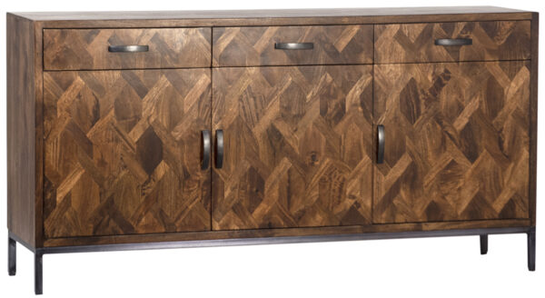 Dark wood sideboard cabinet with 4 doors and 3 top drawers