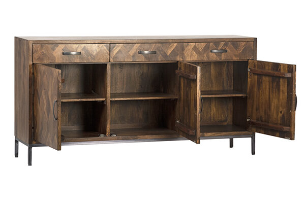 Dark wood sideboard cabinet with 4 doors and 3 top drawers open doors view
