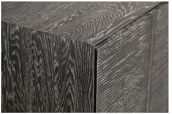 Black wash wood sideboard close up