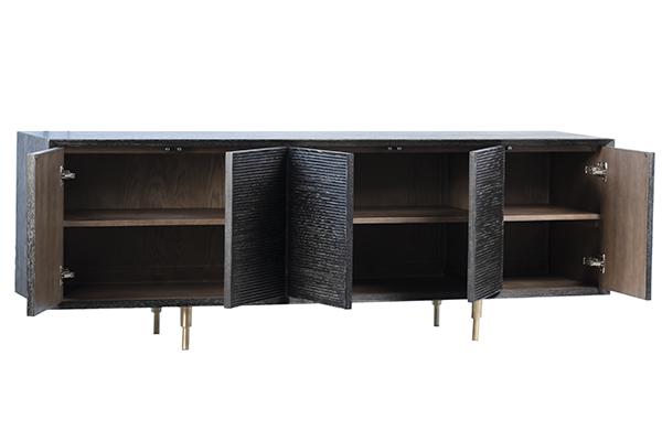 Black wash wood sideboard with doors open