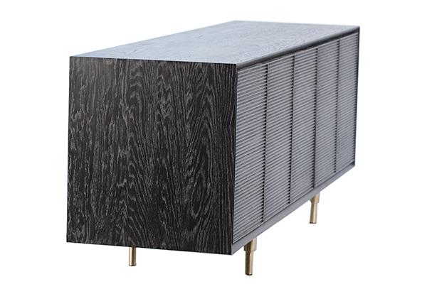 Black wash wood sideboard side view