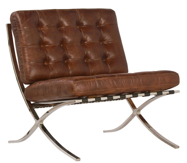 Brown leather club chair with chrome legs