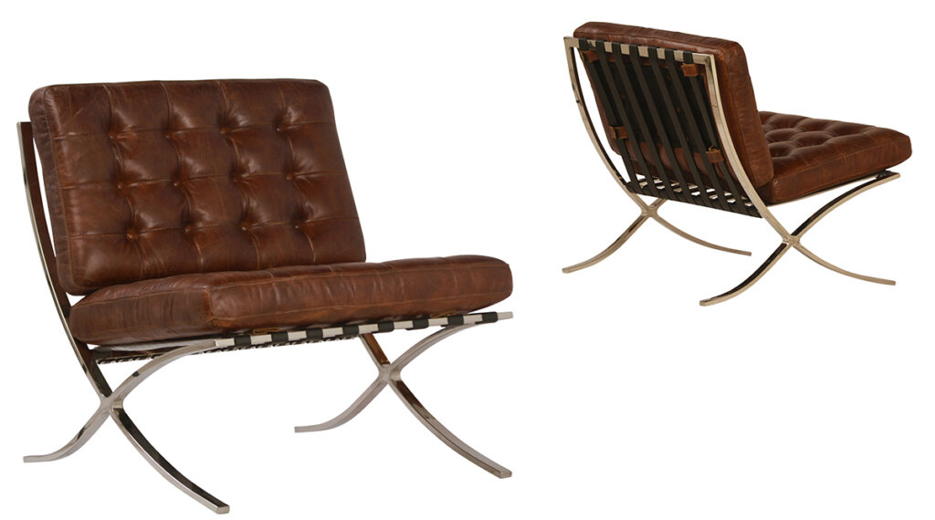 Antique Brown Lightly Distressed Leather Chairs with Chrome Base