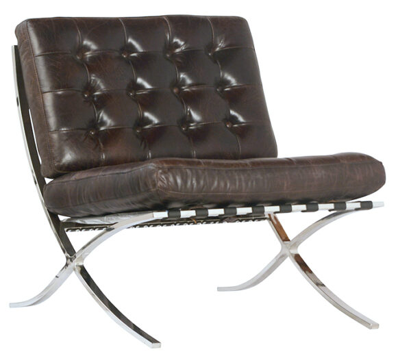 Brown leather chair with tufting and chrome legs