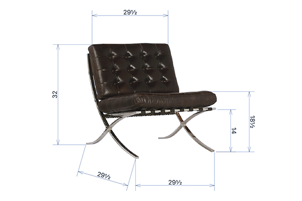 Brown leather chair with tufting and chrome legs view having dimensions