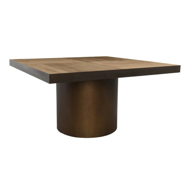 Square wood top table with round iron base