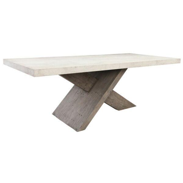 Concrete top dining table with wood crossbean base