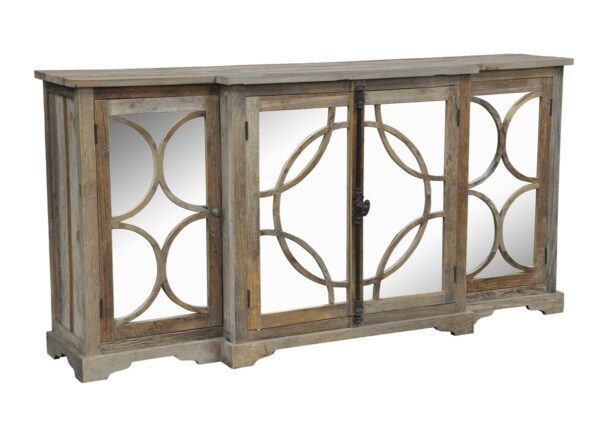 Wood sideboard with 4 mirror doors