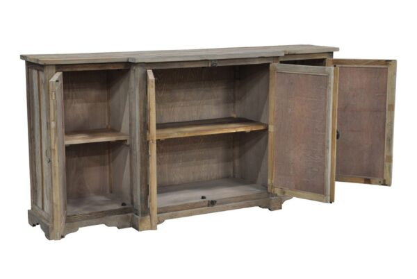 Wood sideboard with opened doors